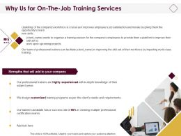 Why Us For On The Job Training Services Ppt Powerpoint Presentation Brochure