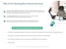 Why Us For Opening New Venture Services Ppt Powerpoint Presentation Infographic Template