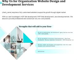 Why Us For Organization Website Design And Development Services Ppt File Topics