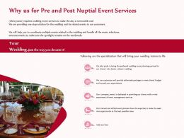 Why Us For Pre And Post Nuptial Event Services Ppt Template