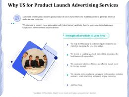 Why Us For Product Launch Advertising Services Ppt Powerpoint Presentation Icon Background