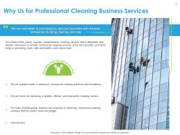 Why Us For Professional Cleaning Business Services Ppt File Display