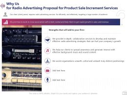 Why Us For Radio Advertising Proposal For Product Sale Increment Services Ppt Master Slide
