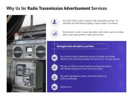 Why Us For Radio Transmission Advertisement Services Ppt Inspiration