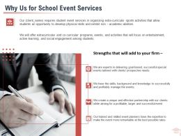Why Us For School Event Services Ppt Powerpoint Presentation Summary Deck