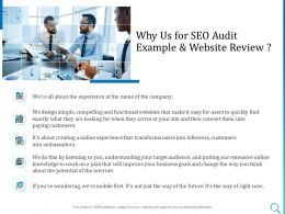 Why Us For SEO Audit Example And Website Review Ppt Powerpoint Icon Objects