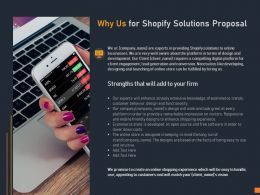 Why Us For Shopify Solutions Proposal Ppt Powerpoint Presentation Slides