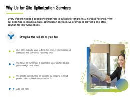 Why Us For Site Optimization Services Ppt File Display