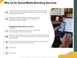 Why Us For Social Media Branding Services Ppt Powerpoint Presentation Icon Good