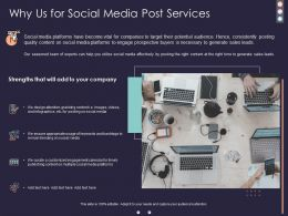 Why Us For Social Media Post Services Ppt Powerpoint Presentation Visual Aids Summary