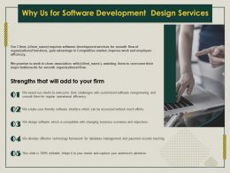 Why Us For Software Development Design Services Ppt Inspiration