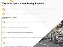 Why Us For Sports Championship Proposal Ppt Powerpoint Presentation Slide