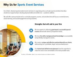 Why Us For Sports Event Services Ppt Powerpoint Presentation Icon Infographics