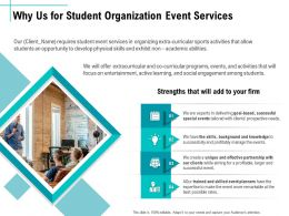 Why Us For Student Organization Event Services Ppt Icon