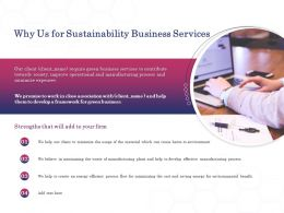 Why Us For Sustainability Business Services Ppt Powerpoint Presentation Ideas Icon