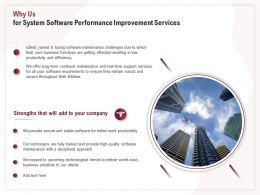 Why Us For System Software Performance Improvement Services Ppt Templates