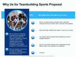 Why Us For Teambuilding Sports Proposal Ppt Powerpoint Presentation File Graphic Images