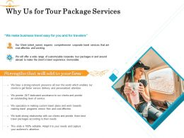 Why Us For Tour Package Services Ppt Powerpoint Presentation Gallery Icon