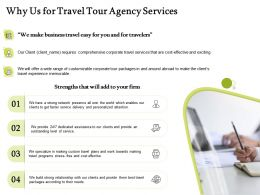 Why Us For Travel Tour Agency Services Ppt Powerpoint Presentation Icon Graphics