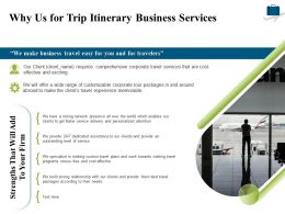 Why Us For Trip Itinerary Business Services Ppt Powerpoint Presentation Ideas Vector