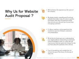 Why Us For Website Audit Proposal Ppt Powerpoint Presentation Visual Aids Outline