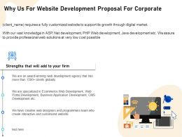 Why Us For Website Development Proposal For Corporate Ppt Demonstration