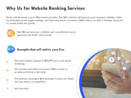 Why Us For Website Ranking Services Ppt Powerpoint Presentation Gallery Master Slide