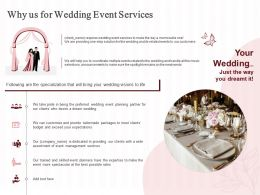Why Us For Wedding Event Services Ppt Powerpoint Presentation Portrait