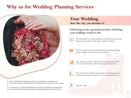 Why Us For Wedding Planning Services Ppt Powerpoint Pictures