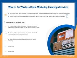 Why Us For Wireless Radio Marketing Campaign Services Ppt File Display