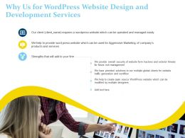 Why Us For Wordpress Website Design And Development Services Ppt Powerpoint Styles