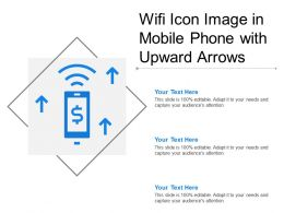 Wifi Icon Image In Mobile Phone With Upward Arrows
