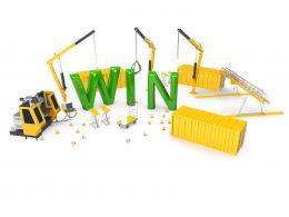 Win Text Three Cranes In Background Stock Photo
