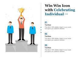 Win Win Icon With Celebrating Individual