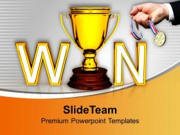 Win With Golden Trophy Competition Powerpoint Templates Ppt Backgrounds For Slides 0113