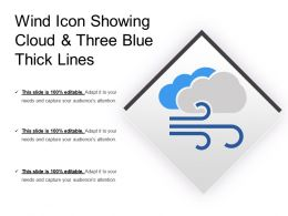 Wind Icon Showing Cloud And Three Blue Thick Lines