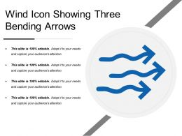 Wind Icon Showing Three Bending Arrows