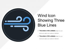Wind Icon Showing Three Blue Lines