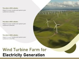 Wind Turbine Farm For Electricity Generation
