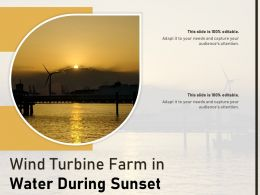 Wind Turbine Farm In Water During Sunset