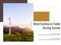 Wind Turbine In Fields During Sunset