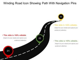 Winding Road Icon Showing Path With Navigation Pins