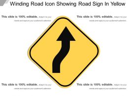 Winding Road Icon Showing Road Sign In Yellow