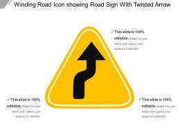 Winding Road Icon Showing Road Sign With Twisted Arrow