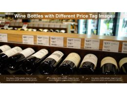Wine Bottles With Different Price Tag Image