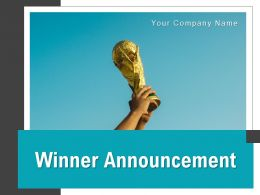 Winner Announcement Holding Megaphone Olympic Lifting Trophy Performing Team