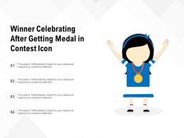Winner Celebrating After Getting Medal In Contest Icon