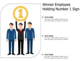 Winner Employee Holding Number 1 Sign
