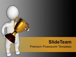 Winner Holding Golden Trophy Competition Powerpoint Templates Ppt Themes And Graphics 0113