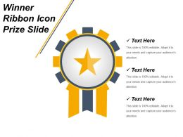 Winner Ribbon Icon Prize Slide Ppt Design